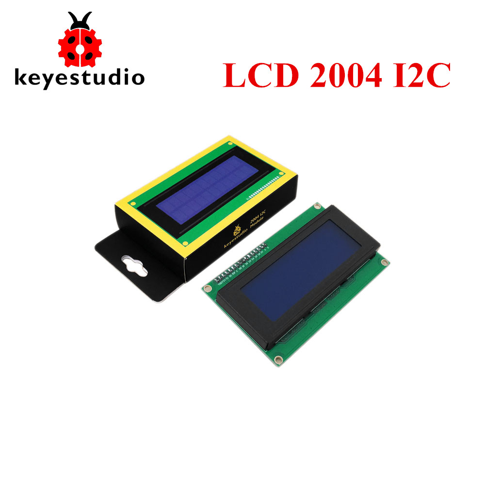 Free shipping! Keyestudio 5V I2C LCD 20X4 2004 LCD Display Module For Arduino UNO R3 with Blue Backlight White Character