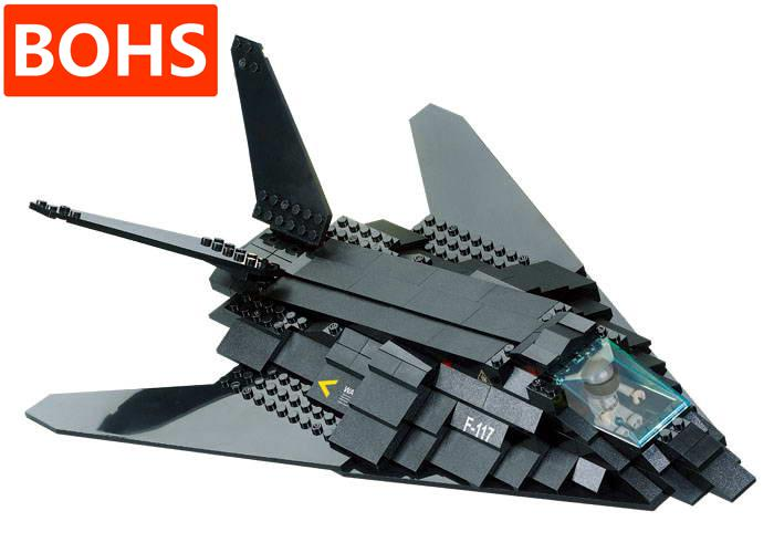 BOHS Block Air Force 0108 F117 Stealth Bomber Children Building Toys