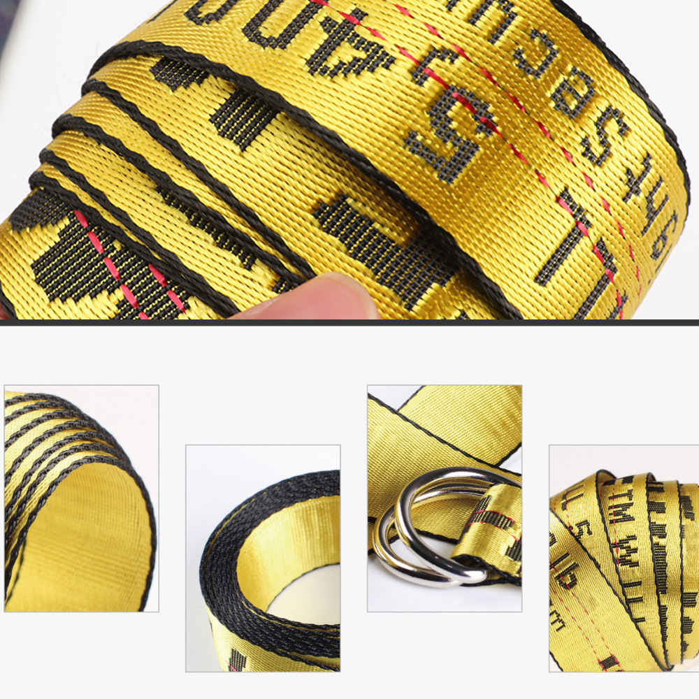 2019 New Arrival Fashion Women Men   Belt   Embroidery Letter Yellow   Belts   Woven Female Waistbands Modern Long Pant Accessories
