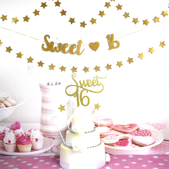 Sweet 16 Banner Birthday Party Decoration Cake Flag Family Decorations Kids Favors Supplies