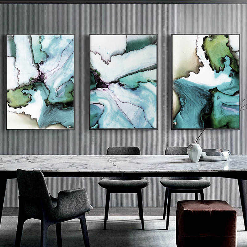 Ink Wash Wall Art Modern Canvas Painting Marble Green Poster Abstract Art Chinese Watercolour Pictures for Living Room Decor