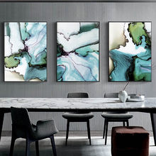 Ink Wash Wall Art Modern Canvas Painting Marble Green Poster Abstract Art Chinese Watercolour Pictures For Living Room Decor(China)