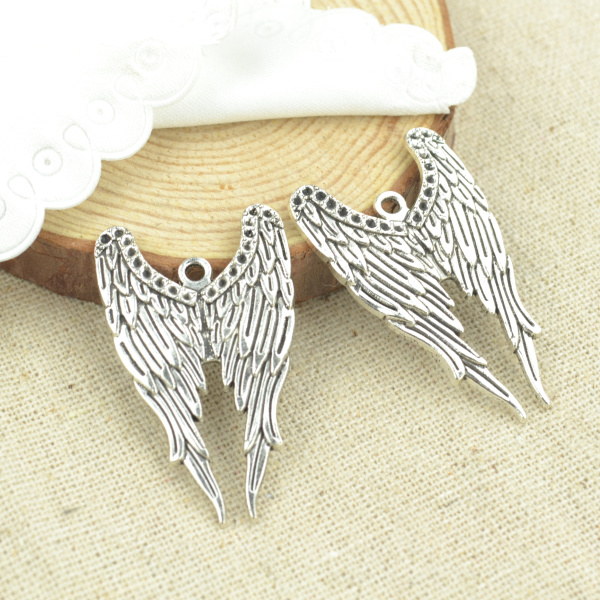 High quality 8pcs metal antique silver Plated wing charms for DIY jewelry making 39*23mm 2495