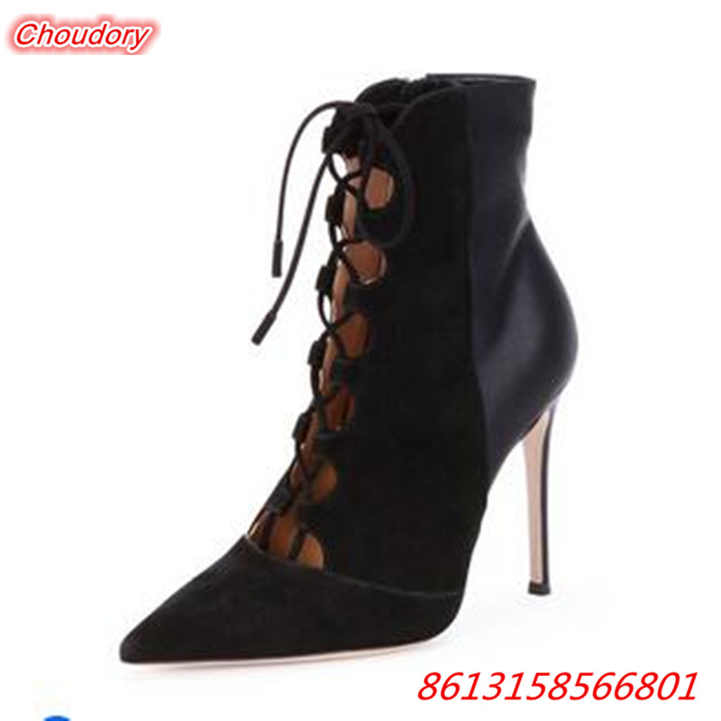 Punk Cross-tied Women Ankle Boots Lace-up Sexy High Heels Women Pumps Fashion Pointed Toe Thin Heels Shoes Female Zapatos Mujer ostry kc06 fashion in ear ear hook earphones silver black 3 5mm plug 1 2m cable