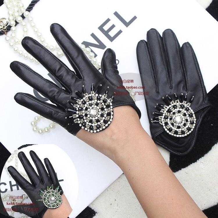 Lambskin Glove Hand Sewn with Diamond Half Gloves Half Halter Leather Gloves Black Green