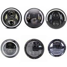 """7 """"אינץ H4 LED פנס לאופנועים Softail Slim שומן ילד 7 אינץ Halo מלאך העין DRL Led אופנוע פנס"""