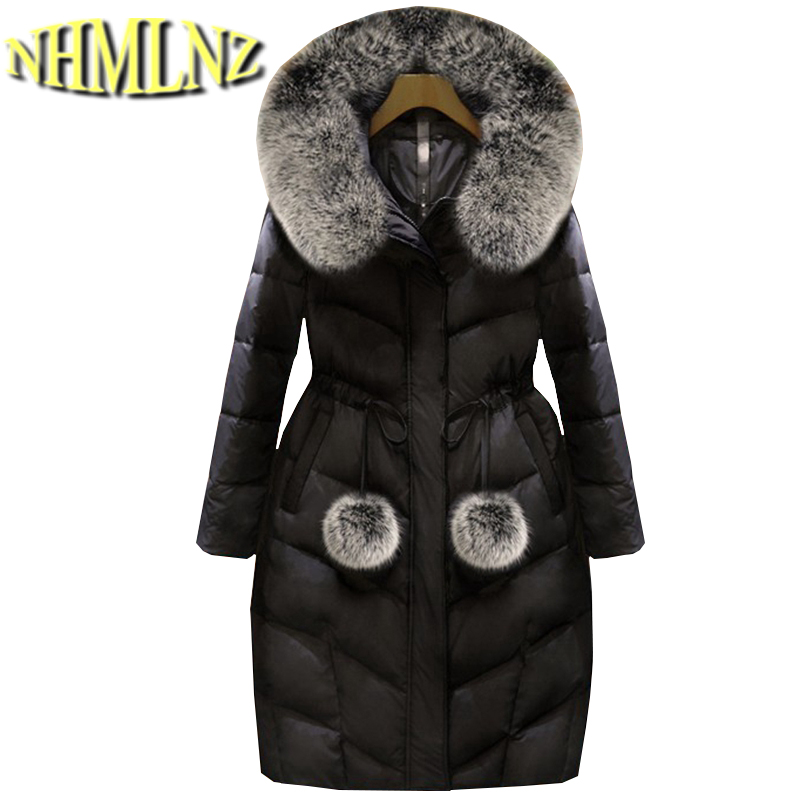 Winter Coat Latest Style Fashion Women Down jacket Thick Warm Hooded Fur collar Jacket Large size Slim Female Outerwear G2827 binyuxd women warm winter jacket 2017 fashion women hooded fur collar down cotton coat solid color slim large size female coat