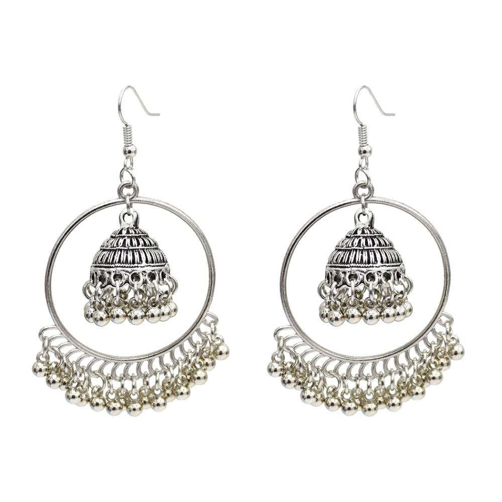 US $1 82 36% OFF|Afghan Vintage Indian Big Long Tassel Statement Earrings  Flower for Women Jhumka Gypsy Egyptian Turkish Tribal Gold Jewelry 2019-in