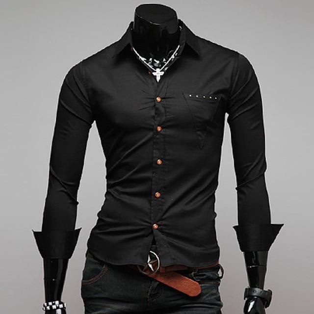 Men shirt slim fit long sleeve shirts men's dress shirt with turn ...