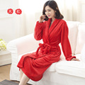 Free Shipping New 2016 Autumn And Winter Female Coral Fleece Bathrobe Women Thicken Hooded Robe With A Belt Flouncing Sleepwear