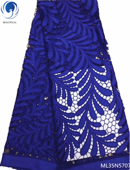 BEAUTIFICAL blue nigerian lace fabrics high quality cord lace guipure cord lace fabric 5 yards/lot hot selling arrival ML35N57