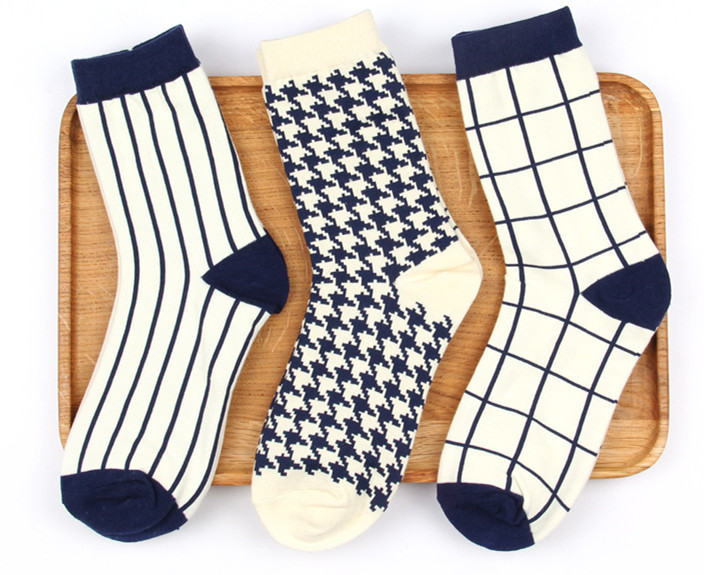 Mens Socks Women Socks Classic Plover Grid Stripe Simple Wild Business Man Lady Couple Socks Cotton Socks
