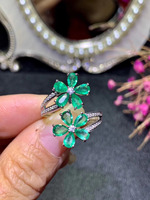 Luxurious Flower Natural green Emerald Ring Natural gemstone Opening Adjustable ring S925 silver women party girl gift Jewelry