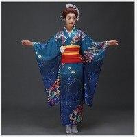 High Quality Japanese Women Kimono Yukata With Obi Sexy Women's Bar Costume Novetyl Photo Clothing Vintage Prom Dress One Size