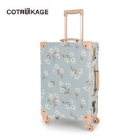 COTRUNKAGE 20 24 26 Canvas Floral Travel Case Vintage Hardshell Cabin Suitcase TSA 4 Wheels Carry On Luggage Trunk for Women