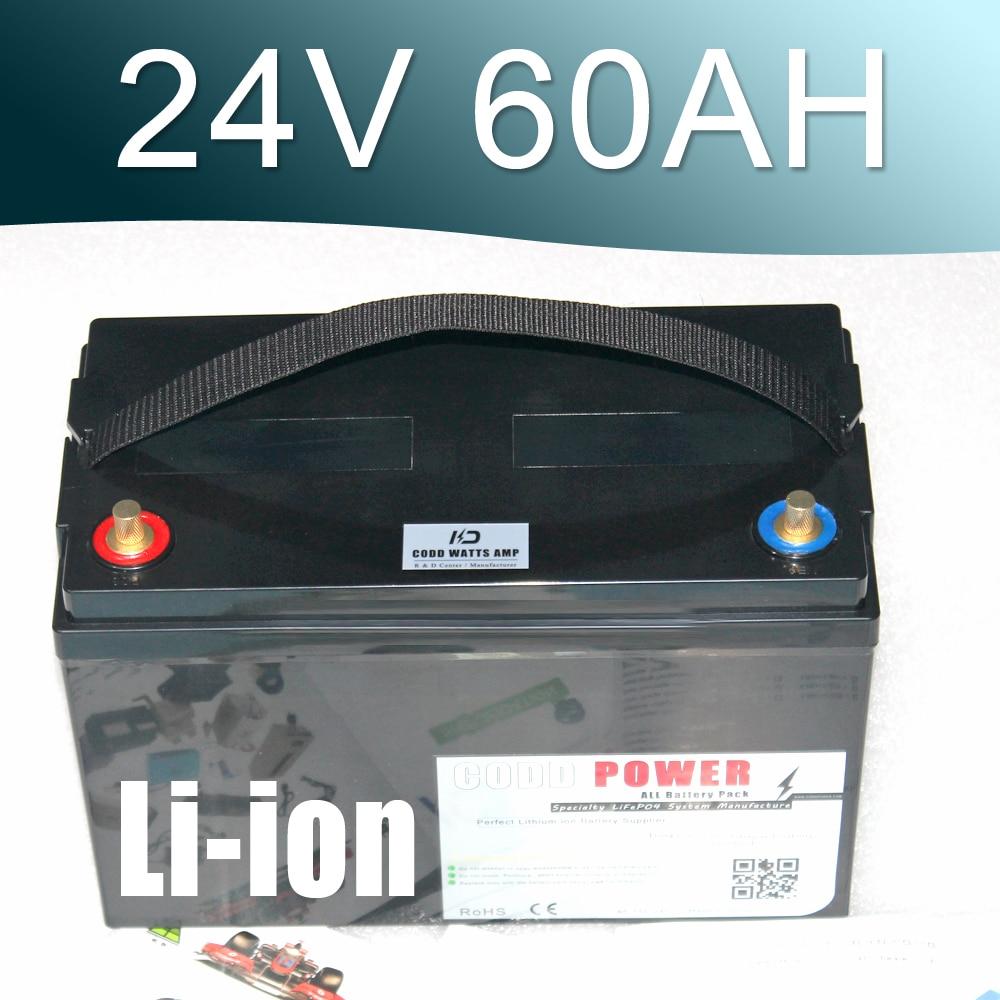 24V 60AH Lithium ion Battery 25.9V Li ion Waterproof IP68 Box for UPS Solar energy Golf Car