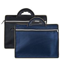 A4 Portable Paper Bag Leather Oxford Cloth Double Zipper High Capacity Multifunctional Business Briefcase