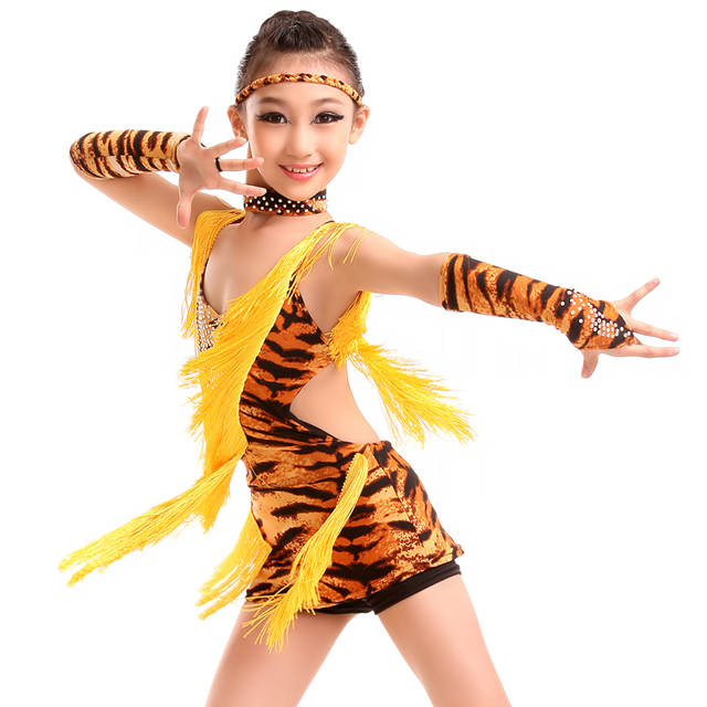 8189126056 sexy latin dance dress girls 2019 Tassel zebra tiger leopard latino dress  for kids latin dresses