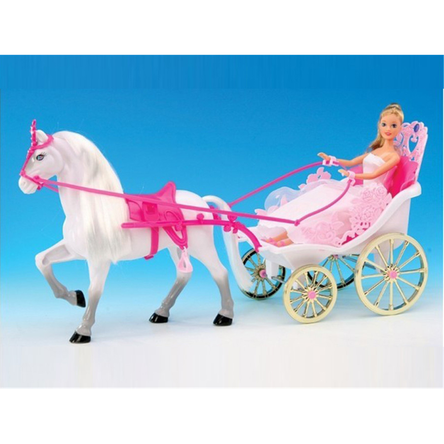Miniature Accessories Dreamy Princess Carriage With Horse