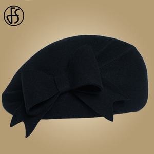 Image 3 - FS eleganckie wełniane fascynatory Fedora kobiety czerwone kapelusze kościelne biały czarny ślub damski kapelusz filcowy łuk berety czapki kaszkiet Chapeau