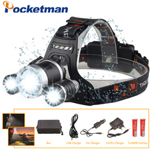 LED Headlight 12000 Lumen  3 x XML T6 LED Head Lamp Flashlight  led headlamp choose battery charger for camping/hunting/fishing walkfire 2200 lumen xml t6 led bicycle light headlamp bike headlight lamp flashlight with 6400mah or 10000mah battery