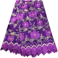 Purple Color Fashion Design Beautiful African Net Lace Fabric Most Popular French Lace Fabric For Nigerian