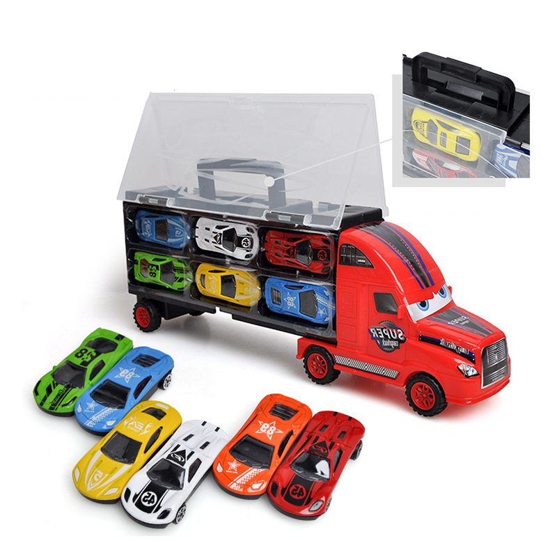 1:18 Alloy Car Pull Back Model Toy Set Truck <font><b>Hauler</b></font> with 6 Small Cars Collection Car Vehicle Toy For Children image