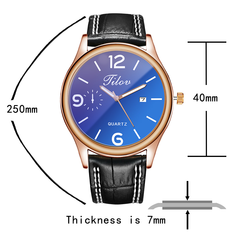 2018 Men's Watch Personality Waterproof Calendar Wristwatches Leather Men Quartz Watches Round Buckle Alloy Simple Black Casual 4