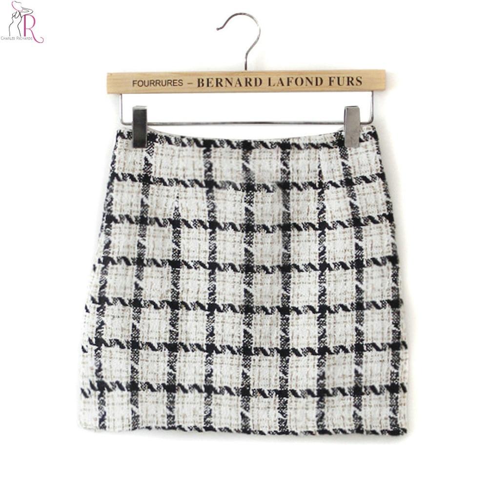 White Plaid Tweed Mini Pencil Skirt Bodycon Tight Fall ...