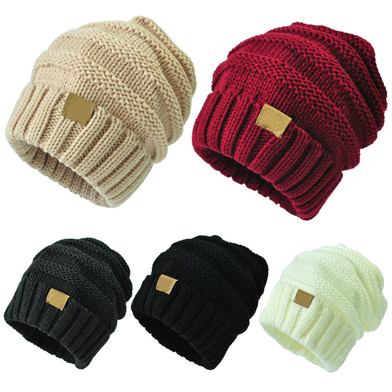 12 Colors Unisex Winter Knitted Wool Cap Women Men Folds Casual CC Labeling Beanies Hat Solid Color Hip-Hop  Beanie Hat Gorros(China)