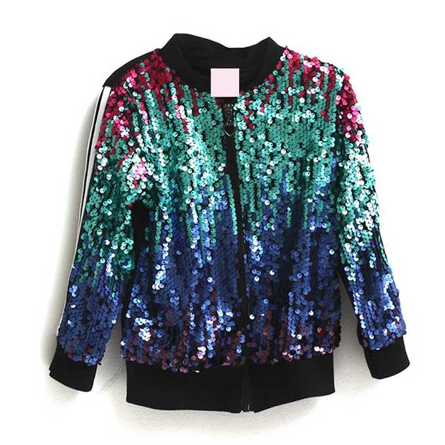 2017 Spring Autumn High Quality Baby Girls Outwear Windbreak Jacket Kids Shinning Sequined Cute Jacket Outwear Casaco