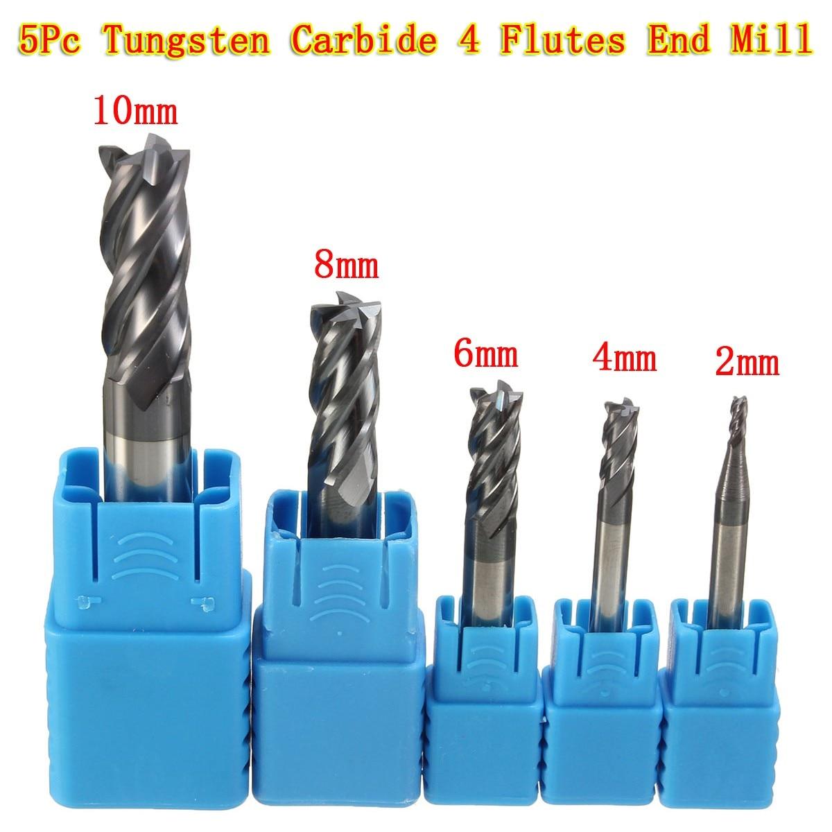 5Pcs Set 2 4 6 8 10MM Tungsten Carbide Straight Shank 4 Flutes Blades End Mill