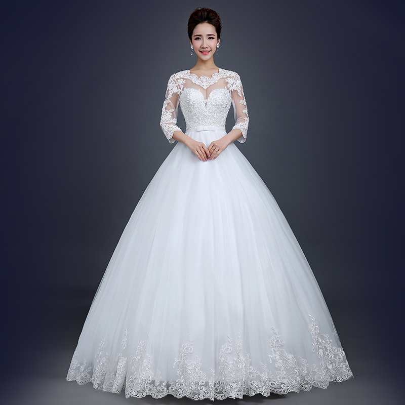 Winter Wedding Gowns 2015: WD 560016 New Winter 2015 Wedding Dress Lace Bridal Plus