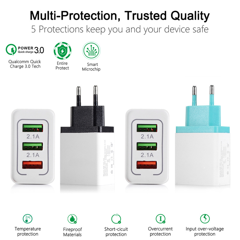 NEW Quick Charging QC 3.0 Smart Charger 3 USB Port Mobile Phone