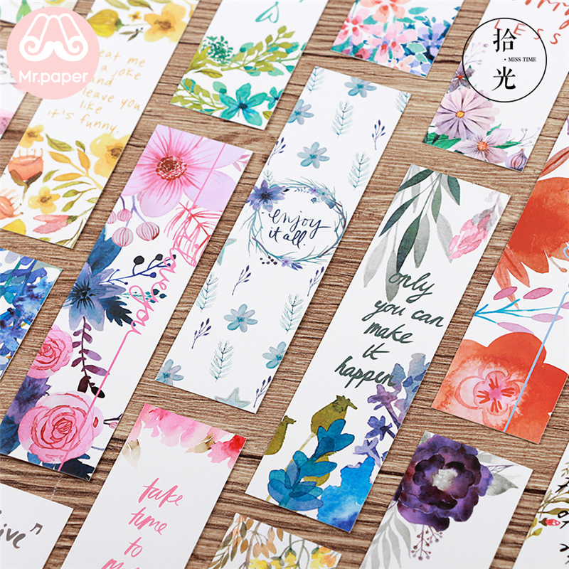 Mr Paper 30pcs/box Beautiful Flowers Green Plants Best Wishes Bookmarks For Novelty Book Reading Maker Page Paper Bookmarks