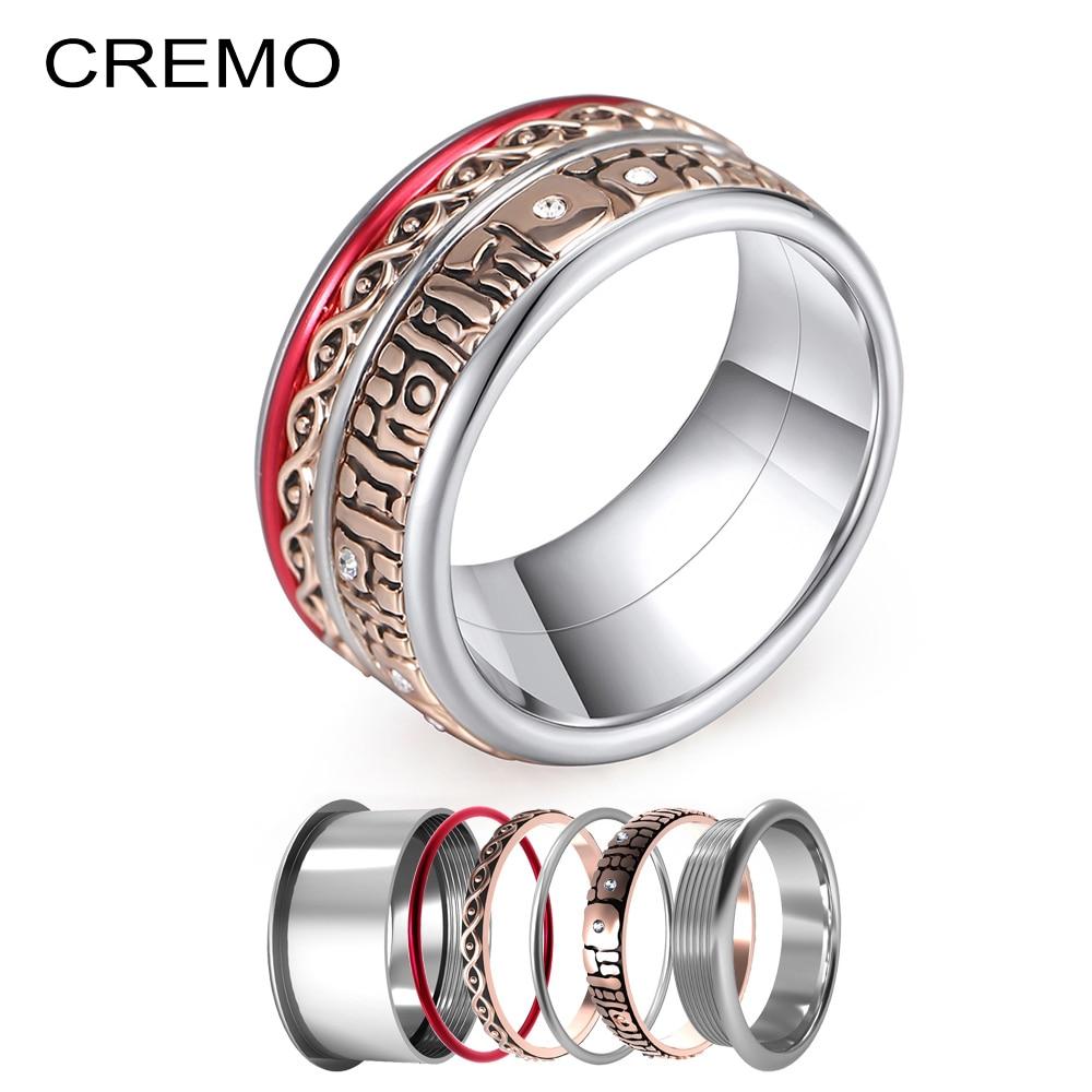 Cremo Gekoppelt Band Für Frauen Elegante Minimalistischen Edelstahl Ring Multicolor Ring Erklärung Handgemachte Innere Ringe Schmuck Anel Waren Des TäGlichen Bedarfs Home