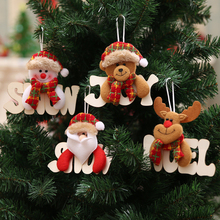 4Pcs Wooden Alphabet Pendants Christmas Tree Decorations Hanging Ornaments Santa Claus Snowman Elk Bear New Year Decor Christmas bow decor backpack with bear charm 4pcs