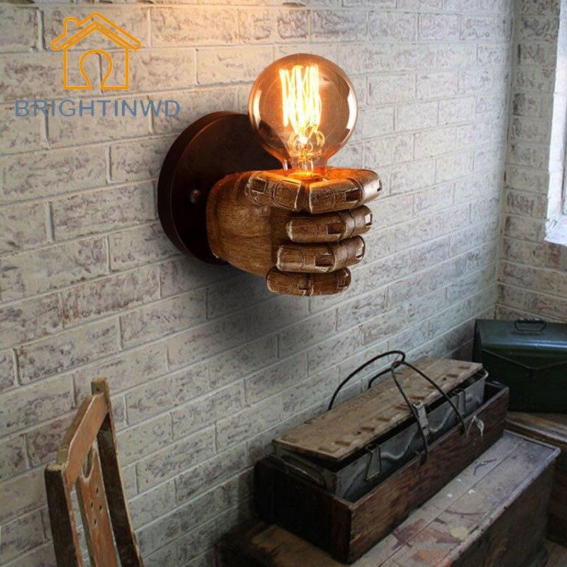 Vintage Classical Resin Fist Wall Lamps Corridor Lights Living Room Bedroom Lighting 85V-265V with Retro E27 Edison bulb Holder декоративні лампи із дерева у стилі бра