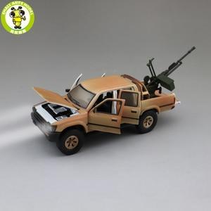 Image 1 - 1/32 Jackiekim Hilux להרים משאית עם אנטי טנק אקדח Diecast מתכת דגם רכב צעצועי ילדים ילדי קול תאורה מתנות