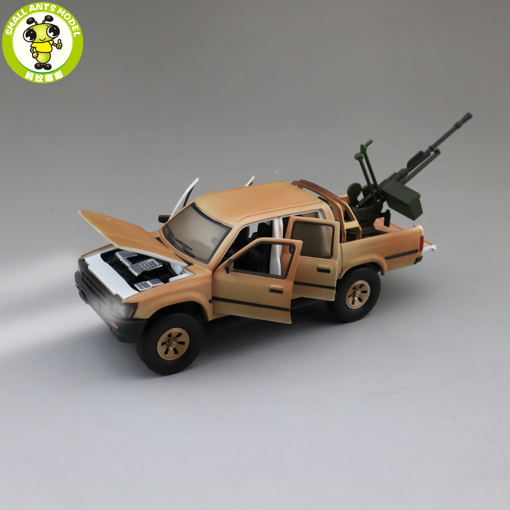 1/32 Jackiekim Hilux Pick Up Truck With Anti-tank Gun Diecast Metal Model CAR Toys Kids Children Sound Lighting Gifts