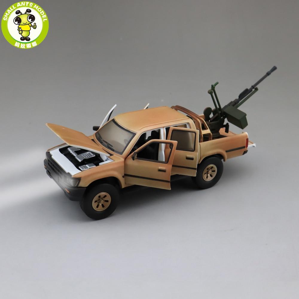 1/32 Jackiekim Hilux Pick Up Truck With Anti-tank Gun Diecast Metal Model CAR Toys Kids Children Sound Lighting Gifts