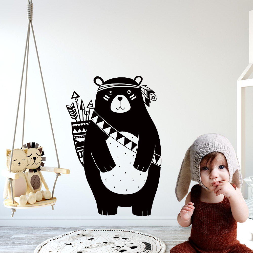 Nordic Style Vinyl Wall Sticker Decals Tribal Bear mural For Kids Rooms Decoration Nursery bedroom decor wallpaper Wallstickers(China)