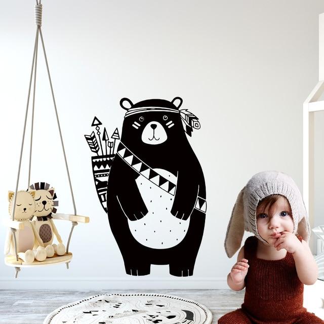 Nordic Style Tribal Bear Woodland Animals Vinyl Wall Sticker mural For Kids Rooms Decoration Nursery Bedroom Decor Wallsticker