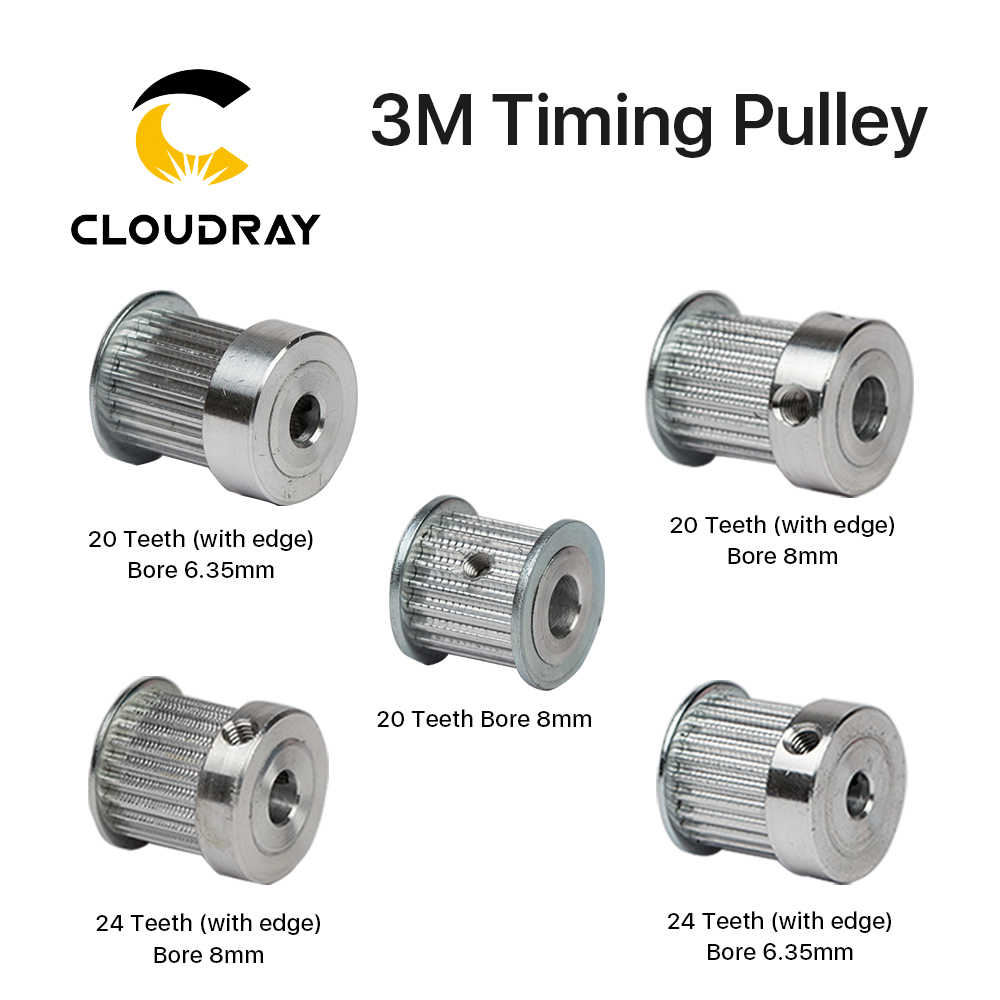 Cloudray CO2 Laser Metal Parts Synchronous HTD 3M Gear Pulley 6.35/8/12mm for DIY CO2 Laser Engraving Cutting MachineCloudray CO2 Laser Metal Parts Synchronous HTD 3M Gear Pulley 6.35/8/12mm for DIY CO2 Laser Engraving Cutting Machine
