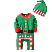 2018 Christmas Baby Rompers Costume Kids Newborn Baby Clothes Long Sleeved Children Infant Clothing Set Top+hat