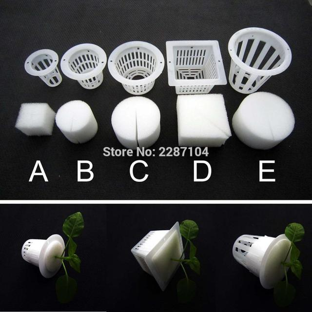 10pcs White Mesh Pot Net Cup Basket + Clone Collar Foam Insert Hydroponic Aeroponic Vegetable Plant Grow Seed Germinate 5 size