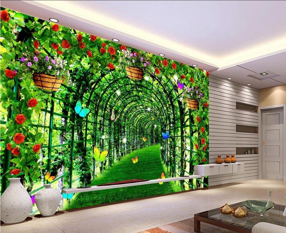 US $12.6 58% OFF|Dekoration wallpaper für wohnzimmer Green floral korridor  benutzerdefinierte 3d fototapete tapete badezimmer-in Tapeten aus ...