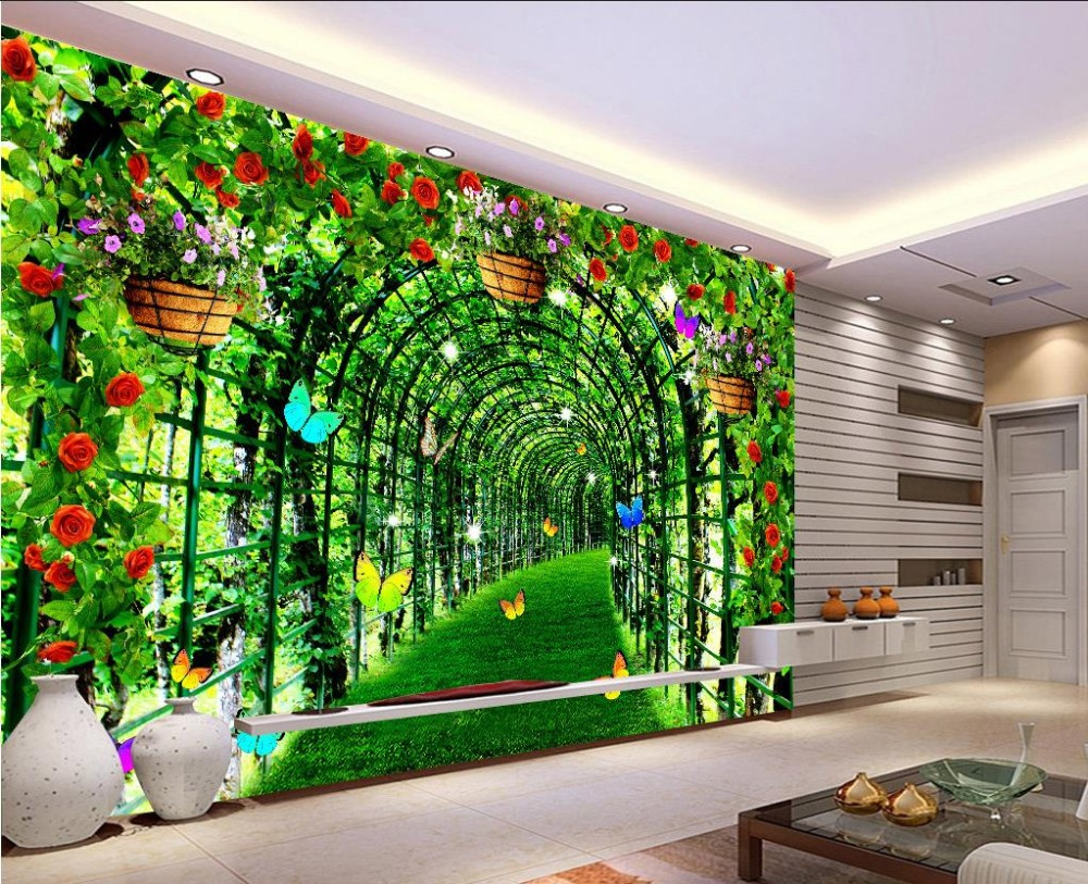 Woondecoratie wallpapers voor woonkamer Groen bloemen gang custom 3d ...