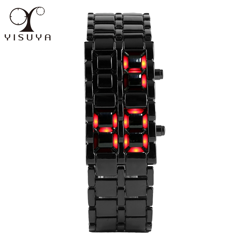 YISUYA Lava LED Watch Stainless Steel Black Full Iron Metal Wrist Watch Men Red Digital Watches Sports Hours Clock for Men Boy fashion zinc alloy digital wrist watch w led for men black 1 x 2032 included