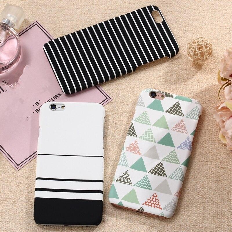 Galleria fotografica XBXcase Plastic Hard Back Phone Case for iPhone 5 5S SE 7 7+Plus Ultra Slim Simple Geometic Stripe Case for iPhone 6 6S Plus x